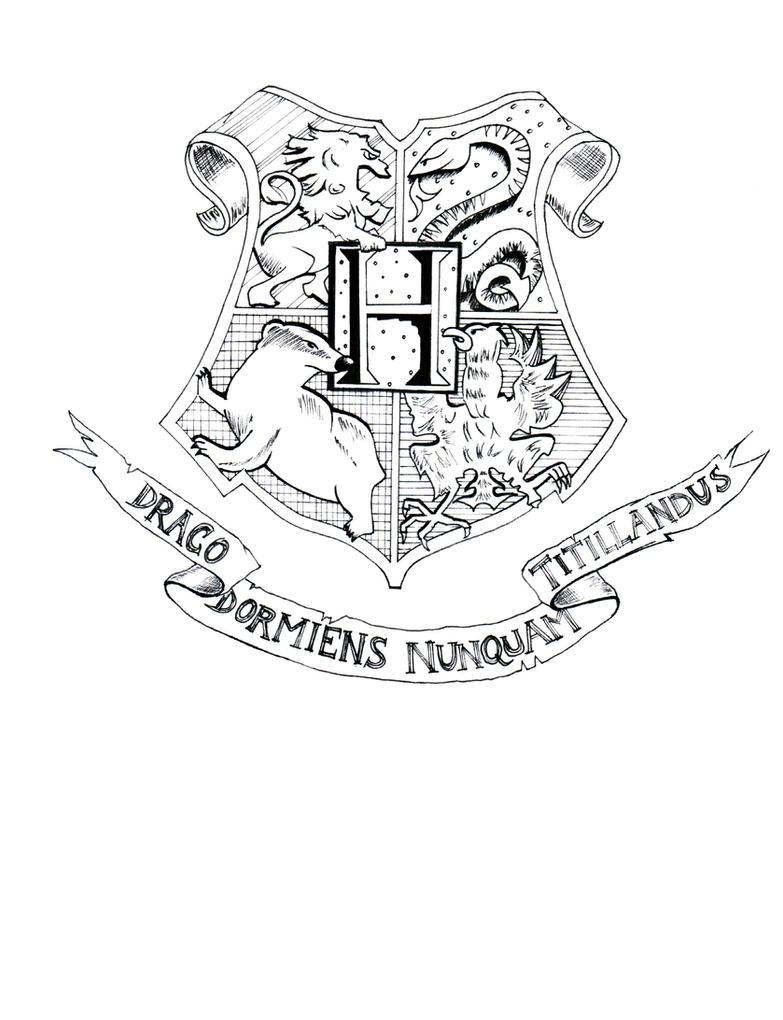 Hogwarts Crest - Lineart by LadyKrya