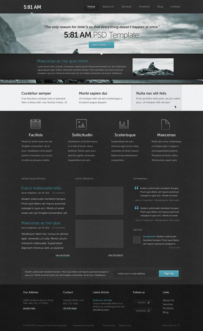 5:81 AM PSD Website Template by AaronVogelstein