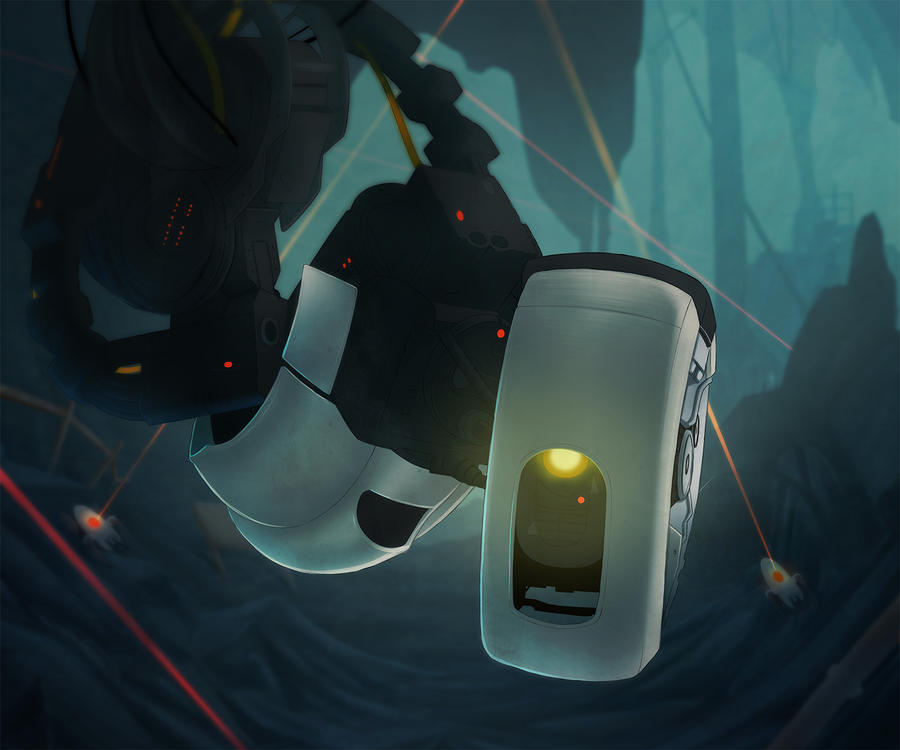 GLaDOS...hanging...in a cave angrily by NPC-Dion
