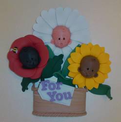 Three Fimo Flowers by Jarreth