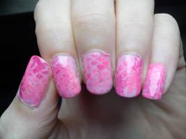 Pink Snakeskin Nail Art by EnelyaSaralonde