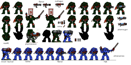 Warhammer 40k Space Marines Pixel Antohammer Made