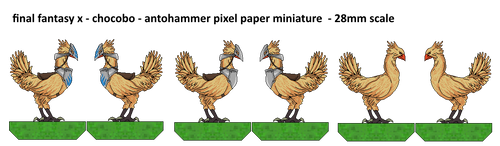 Fina Fantasy Pixel Paper Minature Chocobo by antohammer