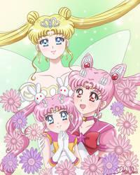 Serenity, Sailor ChibiMoon and ParallerSailorMoon
