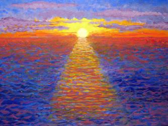 Blazing Ocean Sunset by BlueMoonArt2000