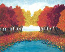 Autumn Pond by BlueMoonArt2000