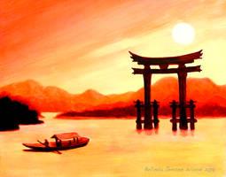 Sunset Torii by BlueMoonArt2000