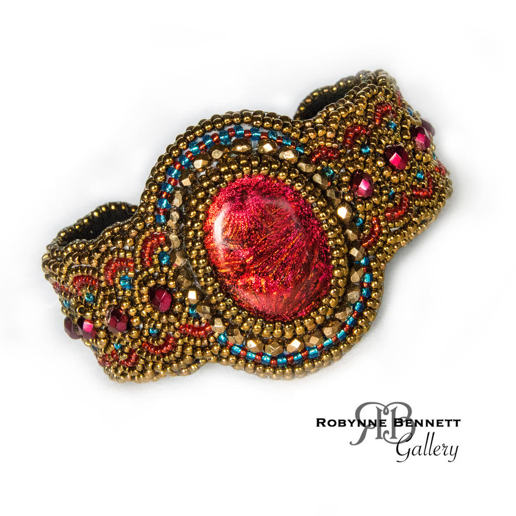 Bead embroidered cuff bracelet by rbbeadartgallery on
