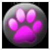 black and pink paw emote