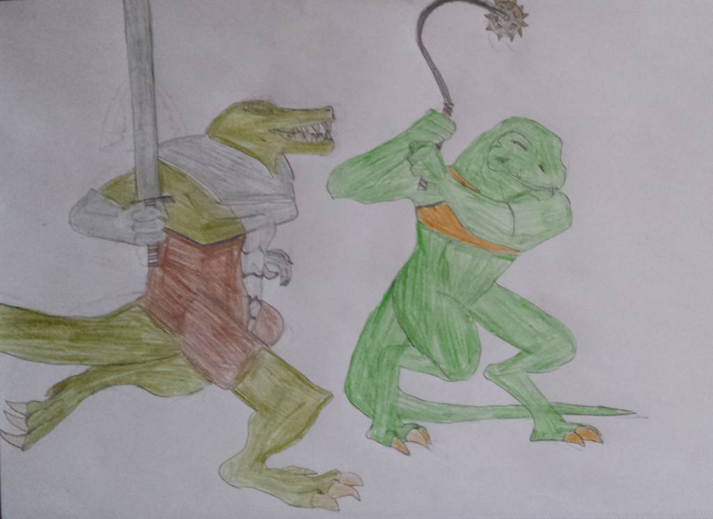 Request Heavy Metal badass Lizardman by KeIIion
