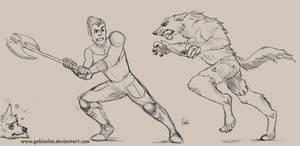 Knights of Carnage/Legend Fan Art Axel vs Wolves