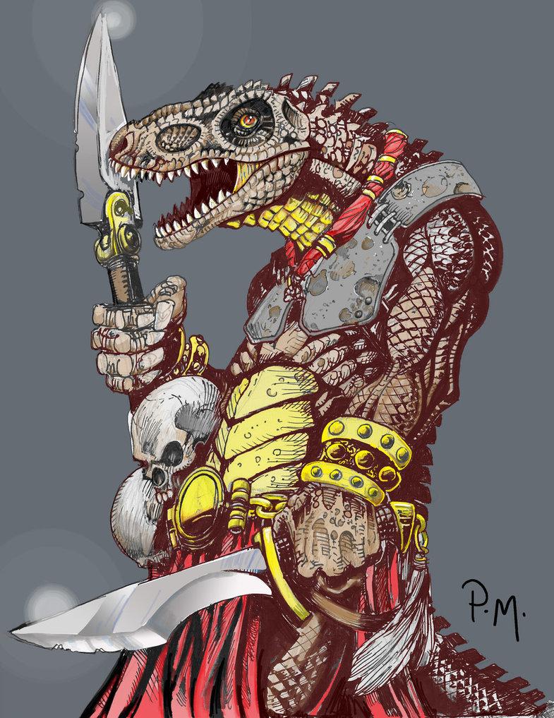 Dinosaur-man warrior by KeIIion on DeviantArt