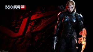 Mass Effect 3: Fem-Shepard Wallpaper by noodle98