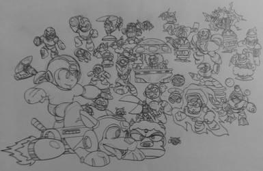 Megaman 30th Anniversary Art(Megaman 1/2 Style)