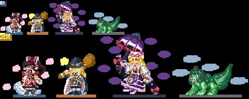Reimu, Marisa, Yukari, Aunn Ver. RKS(Pixel art)