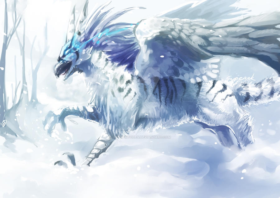 Snow Gryphon by OutOfKitchen