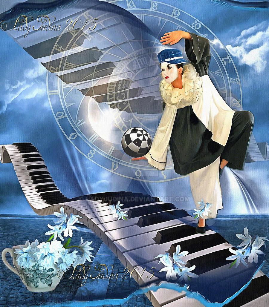 Pierrot and Piano by ladyjudina