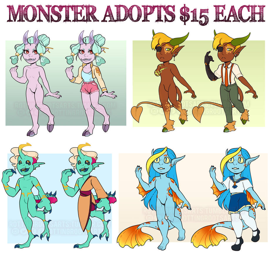 Monster Adopts: $15 (3/4 OPEN) by RottingRoot