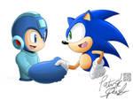 Collab - Blue Bomber Blue Blur by kureejiilea