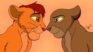 Sunset Love YCH Result 3: Mufasa x Sarabi for Nala