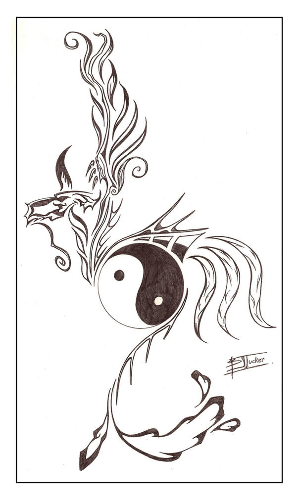 Dragon Yin Yang Tattoo Design by tux20