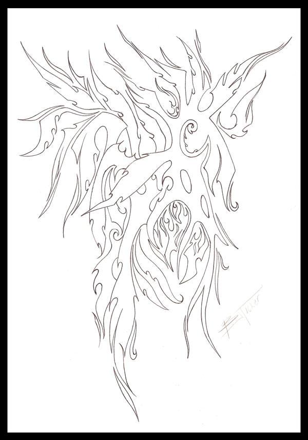 Phoenix Design Outline Tattoo by ~tux20 on deviantART