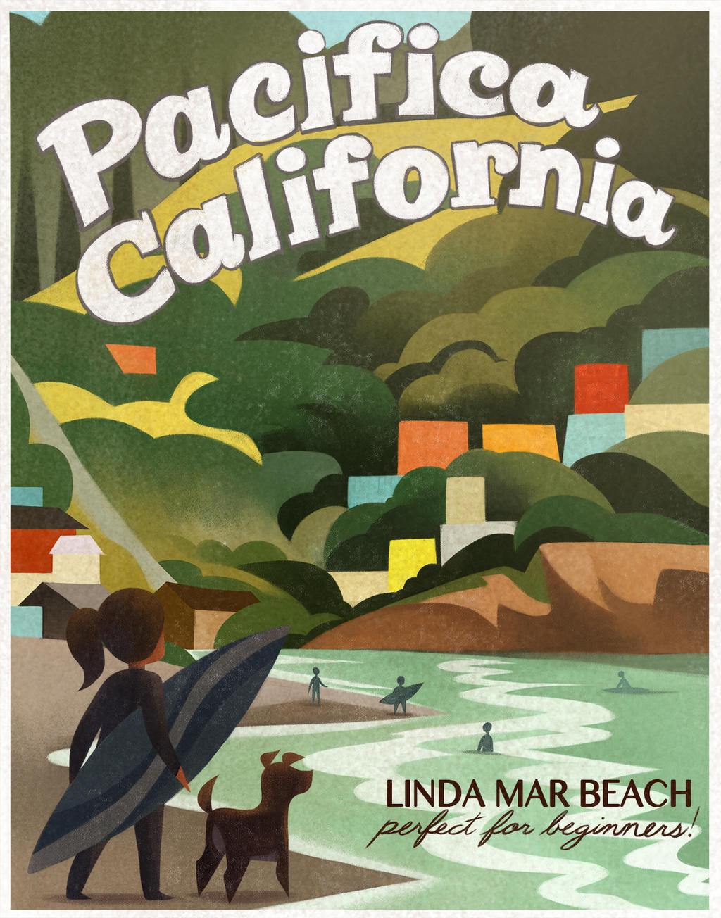 Pacifica, California, Linda Mar Beach illustration