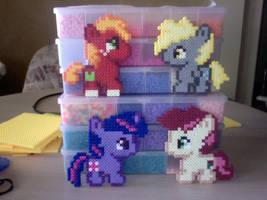 Four Chibi Perler Bead Ponies by Perler-Pony