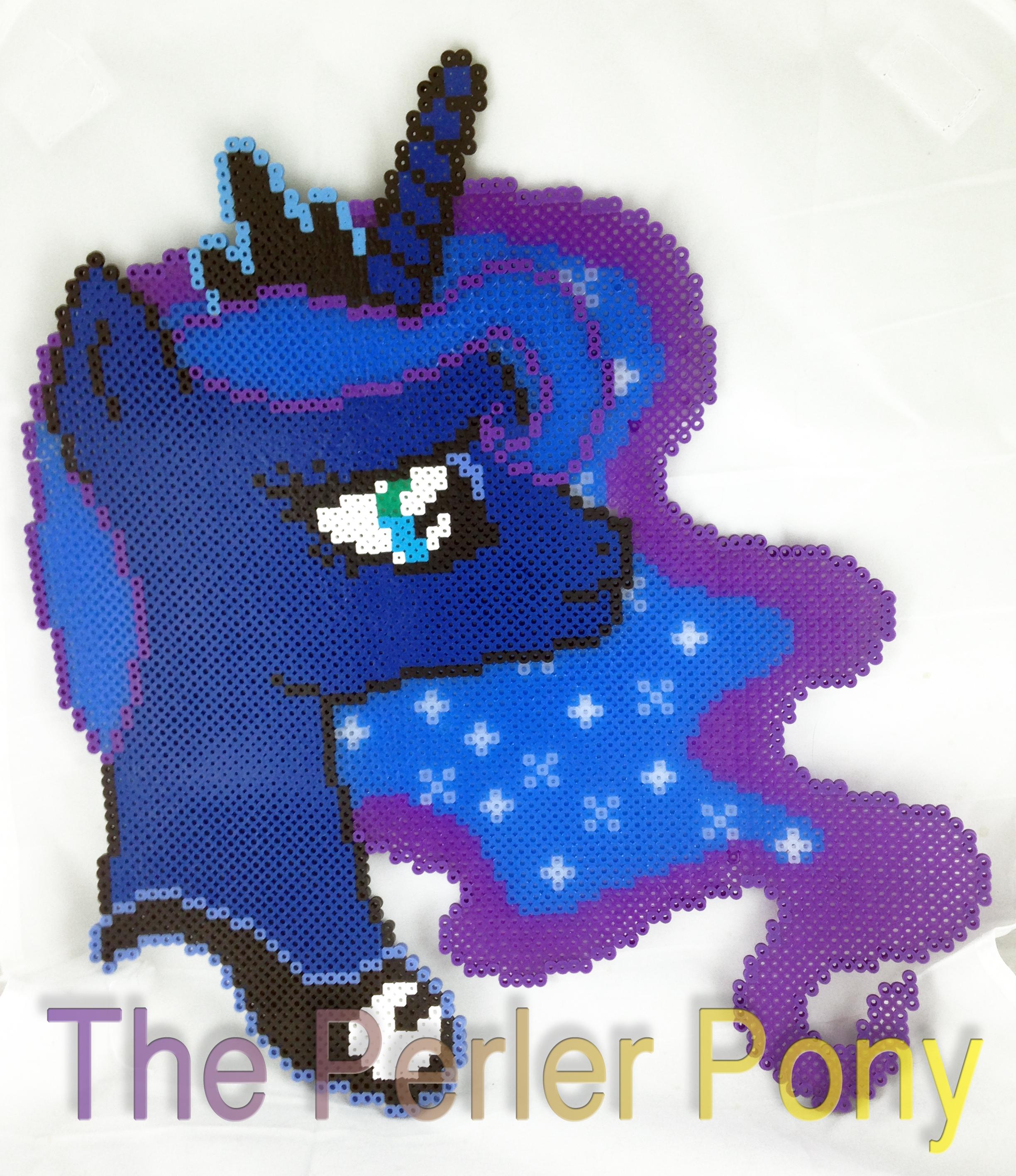 ONE OF A KIND My Little Pony Perler Luna Portrait by Perler-Pony