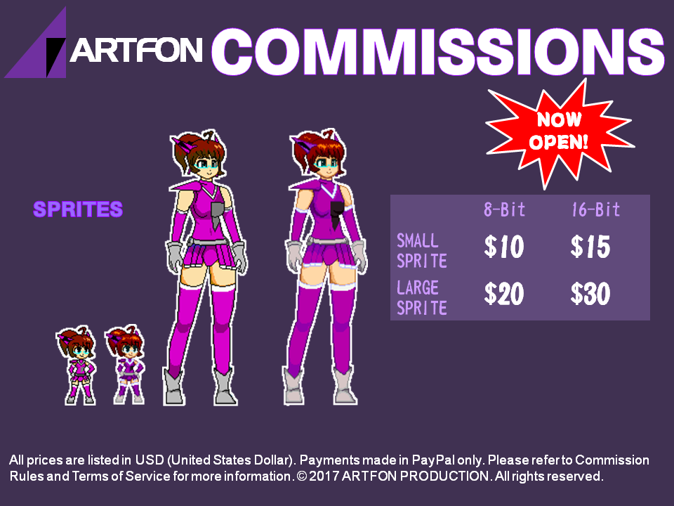 [NOW OPEN!] Sprite Commissions by artfonproduction
