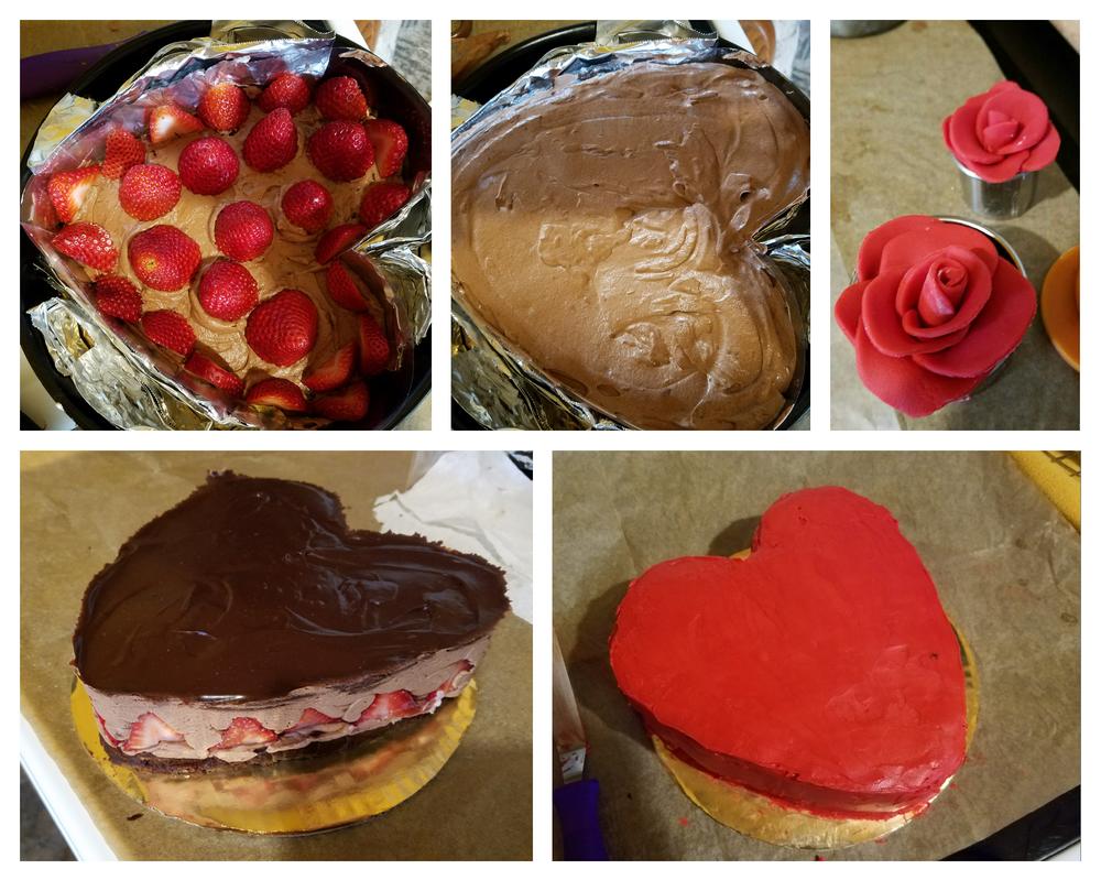 Strawberry Chocolate Mousse Cake proccess by sokesamurai