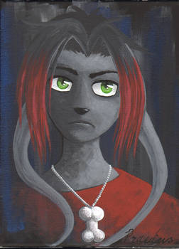 Grumpy Goth Gelert - acrylic on canvas