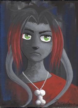 Grumpy Goth Gelert - acrylic on canvas