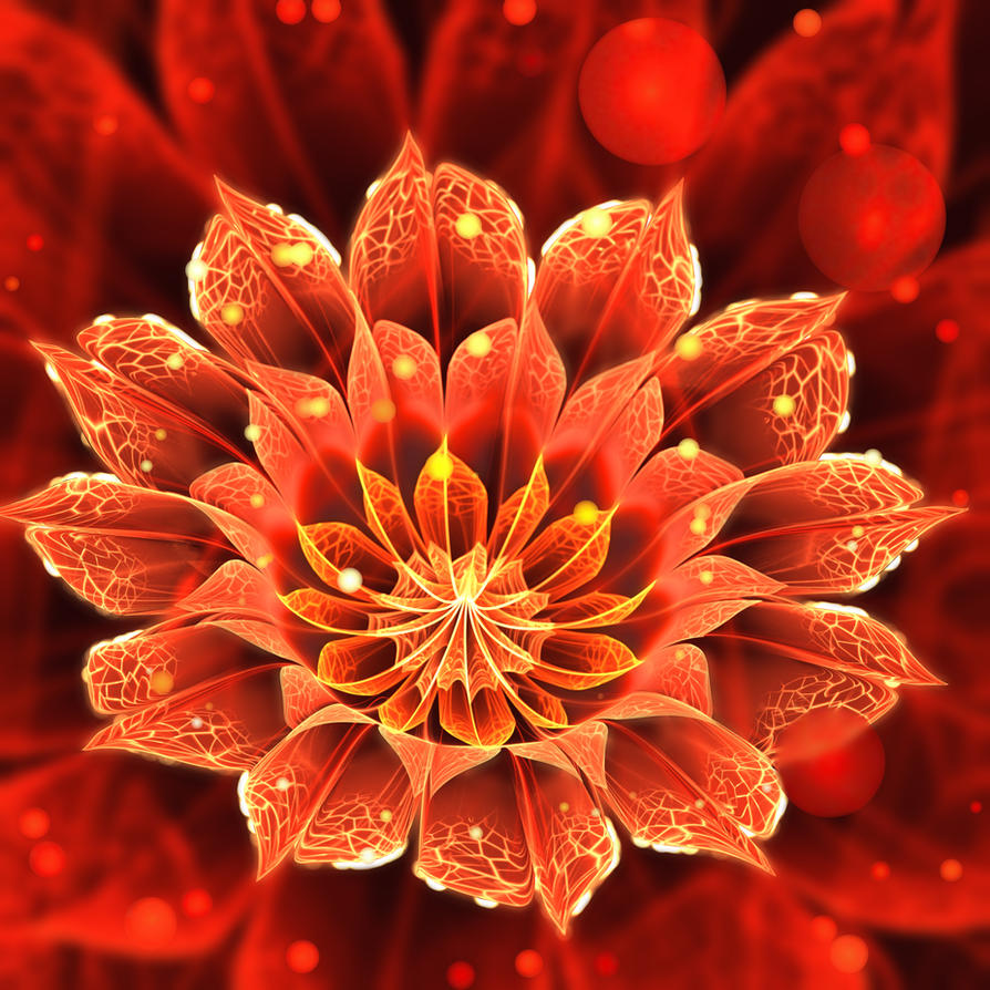 Bloom Of Fire Red Dahlia Fractal Flower By Jayaprime On
