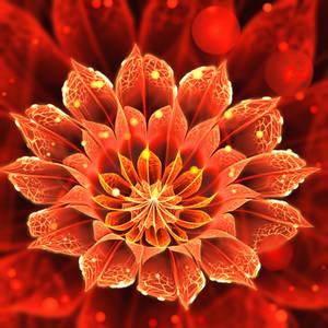 Bloom of Fire -- Red Dahlia Fractal Flower
