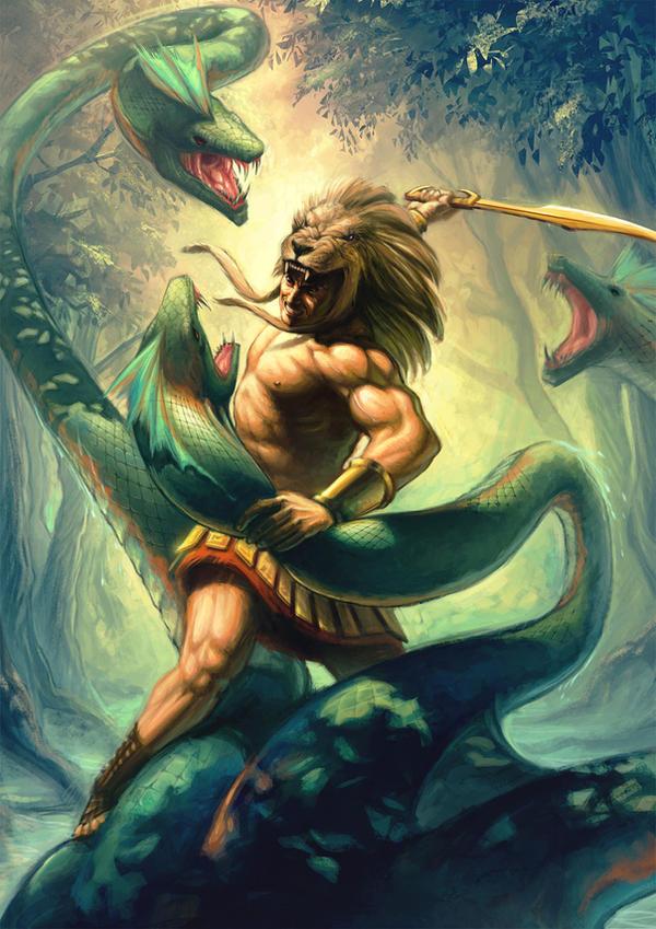 Hercules vs Hydra by Kit-Ho on DeviantArt