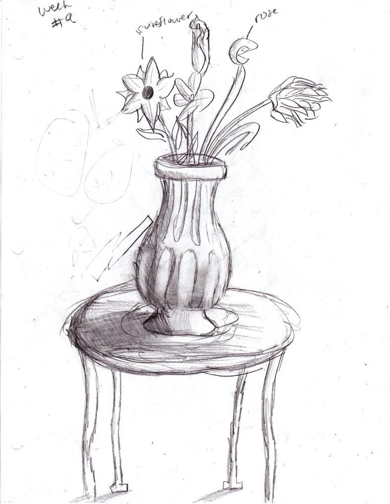 Flower vase sketch by tisserovehicks on deviantart for Table design sketch