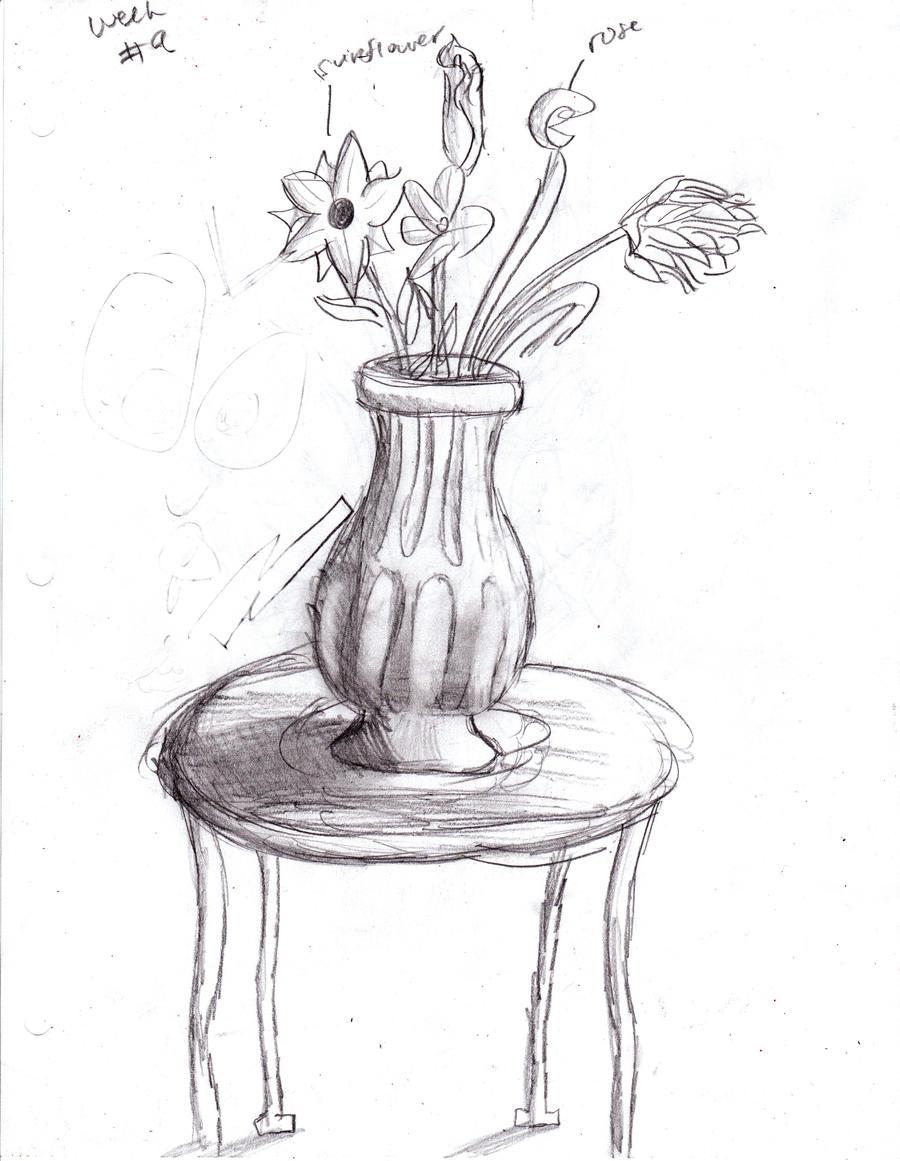 Flower Vase Sketch By Tisserovehicks On Deviantart