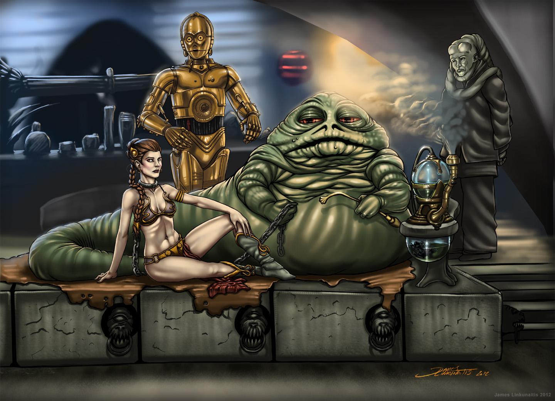 Jabba and Slave Leia by jameslinkOola And Leia Submit To Jabba