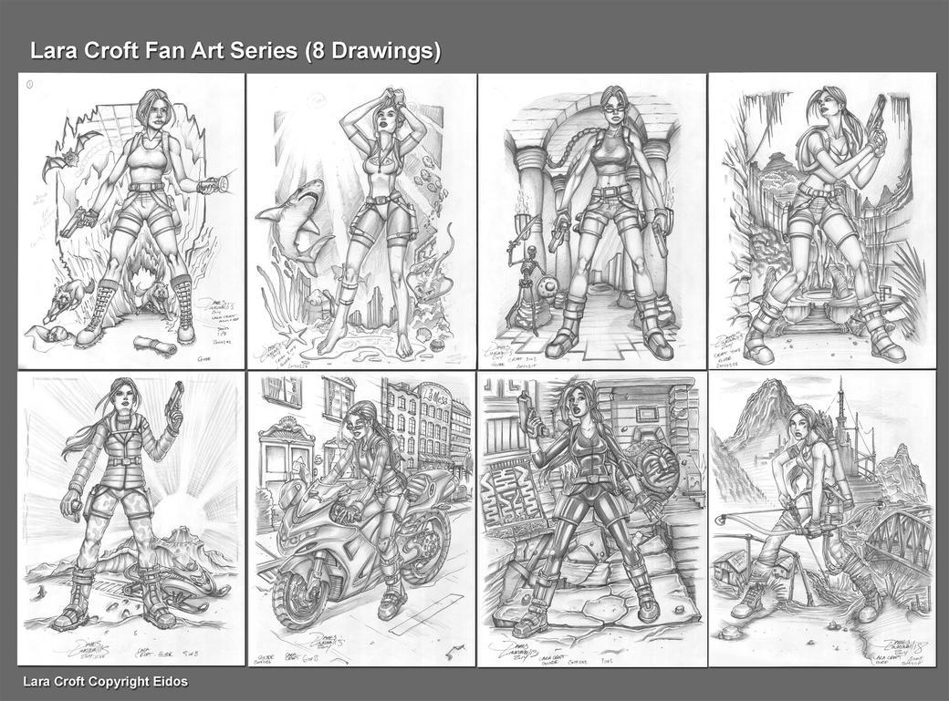 Lara Croft Fan Art Series (8 Drawings) by jameslink