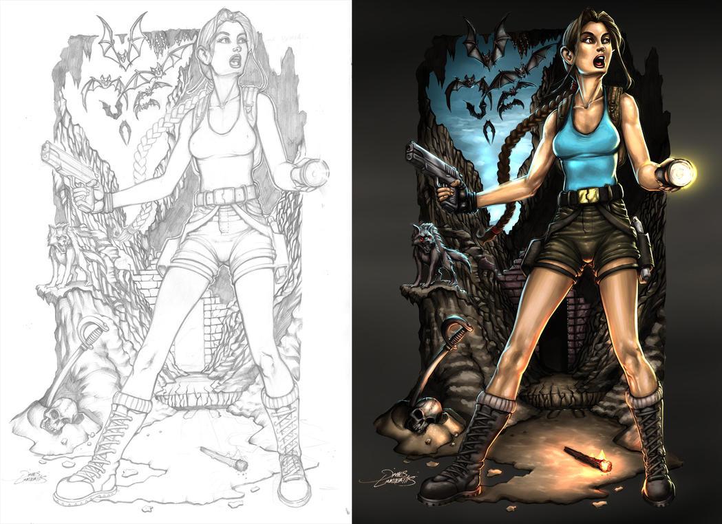 Lara Croft (Pencils + Finished Work) by jameslink