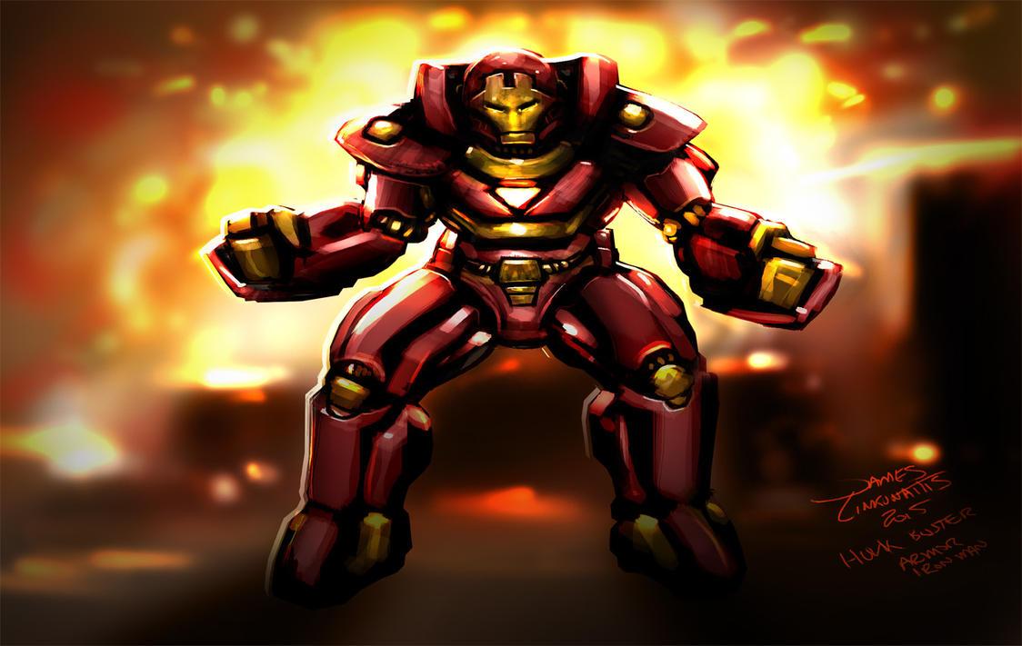 Iron Man Hulk Buster (Daily Sketch Challenge) by jameslink