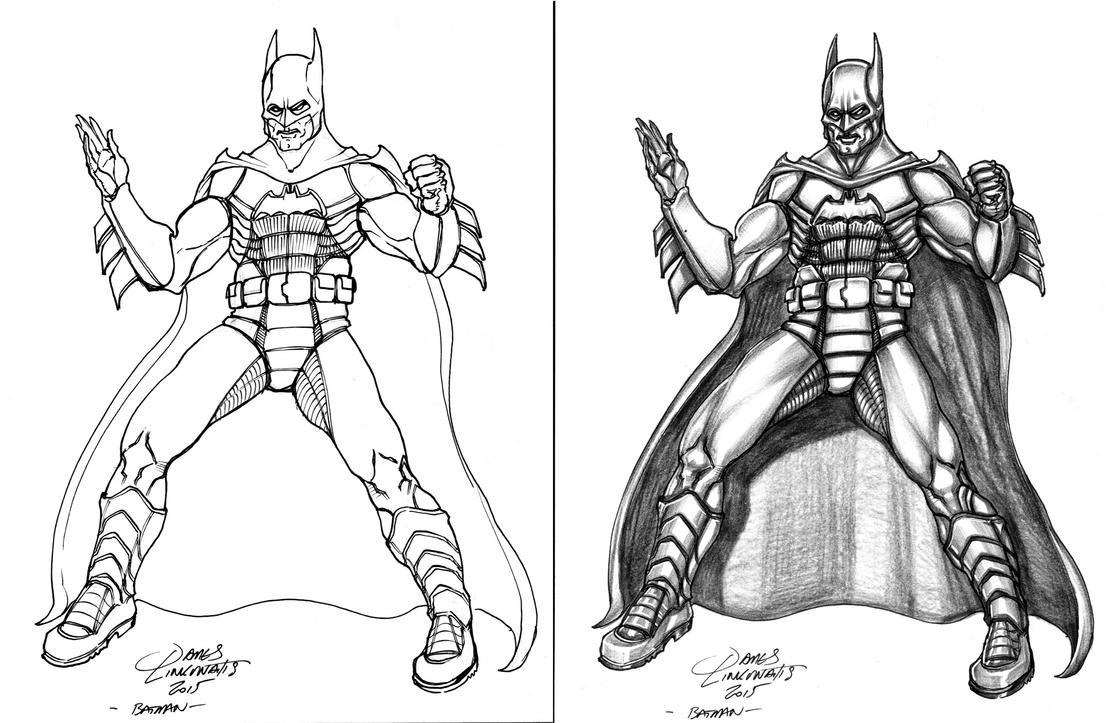 Batman (Linework + Shaded) by jameslink