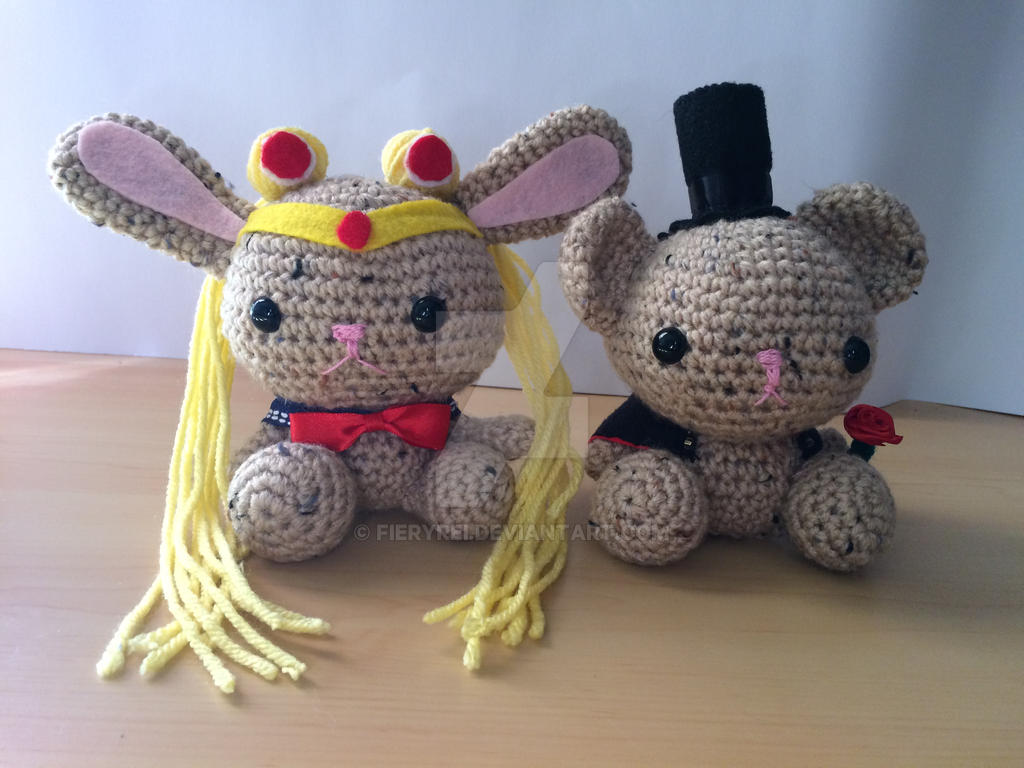 Sailor Moon Bunny and Tuxedo Mask Bear Amigurumi by FieryRei