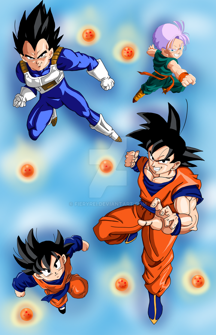 Dragon Ball Z Goku Vegeta Trunks Goten by FieryRei