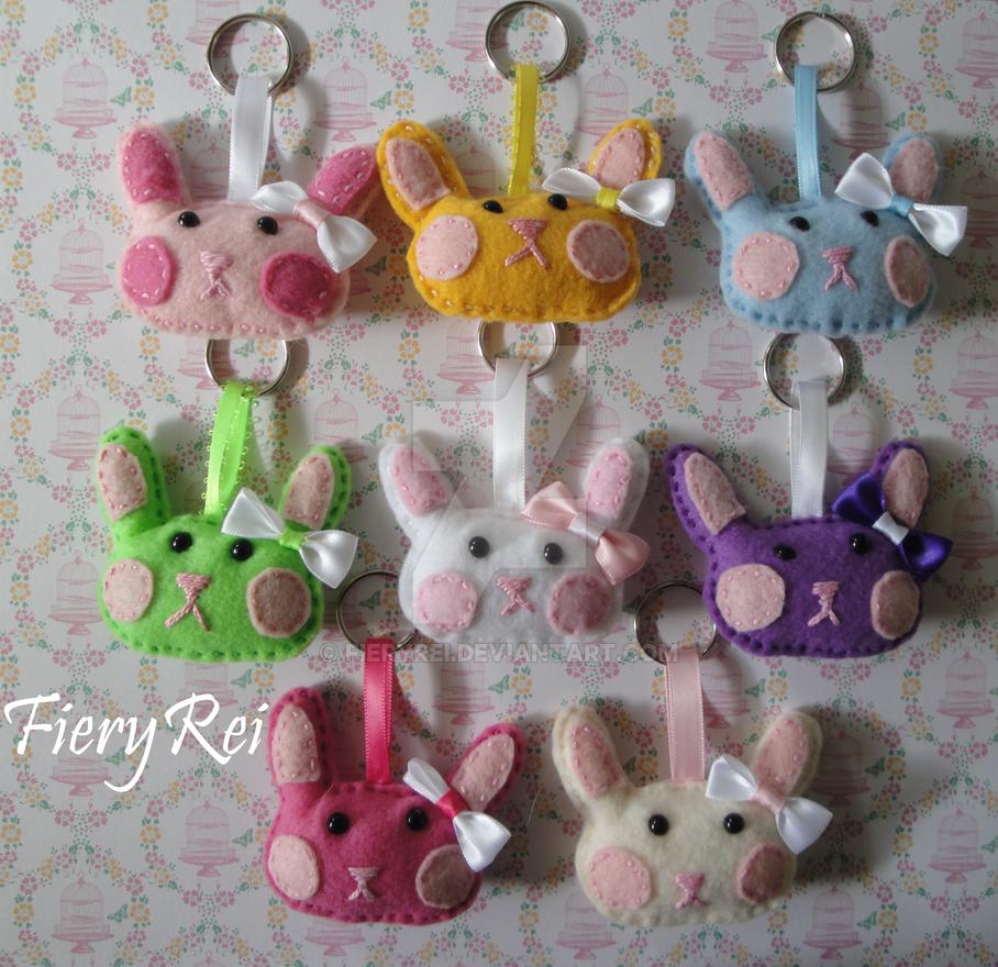 Easter Rabbit Felt Keychains by FieryRei