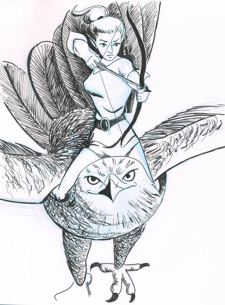 Inktober Day 19 - Elf Archer by tartleigh