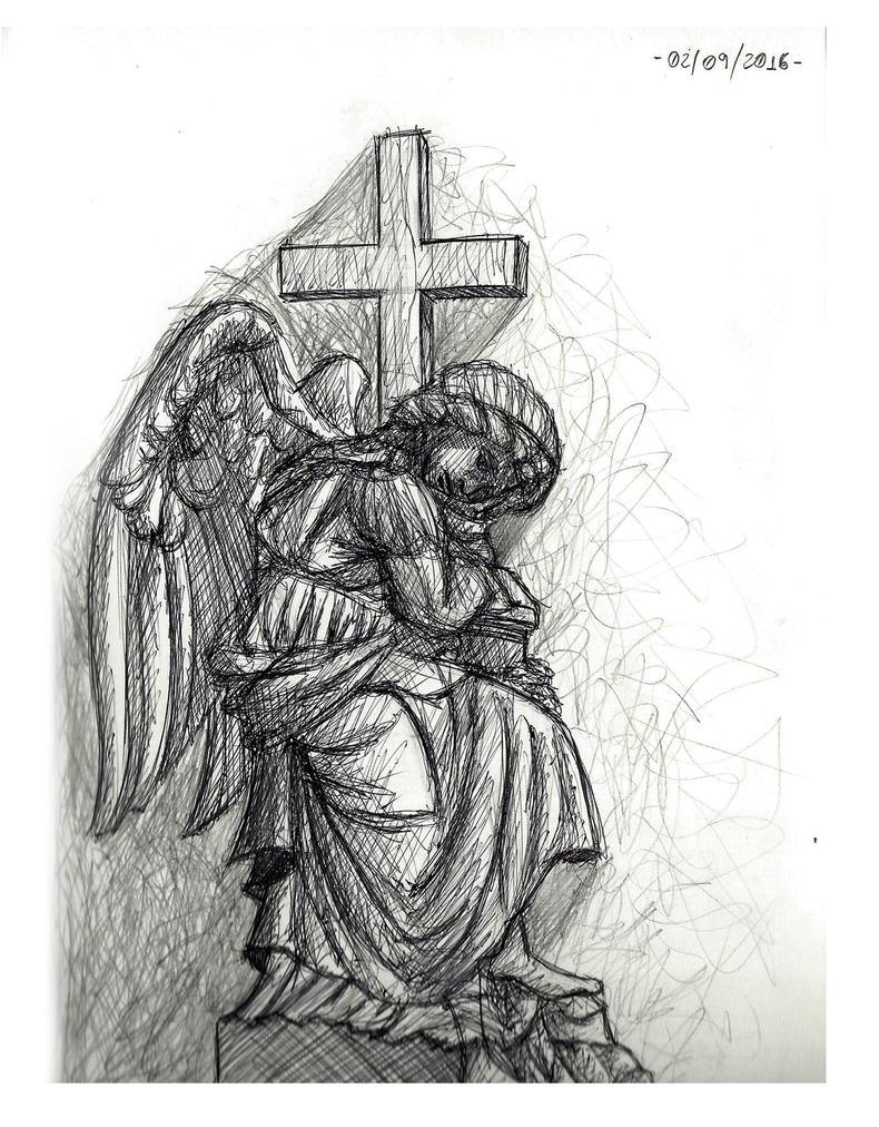 Observational Sketch 2 - Angel Statue by Zero-Knight-Daken