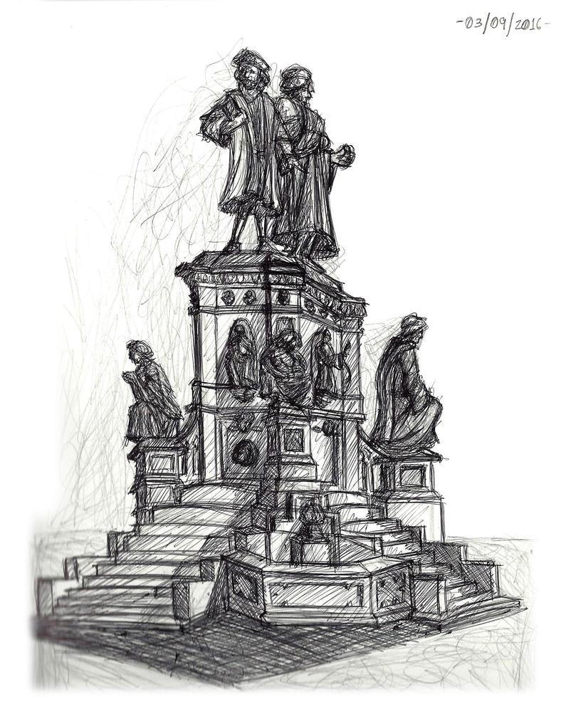 Observational Sketch 3 - Statue by Zero-Knight-Daken