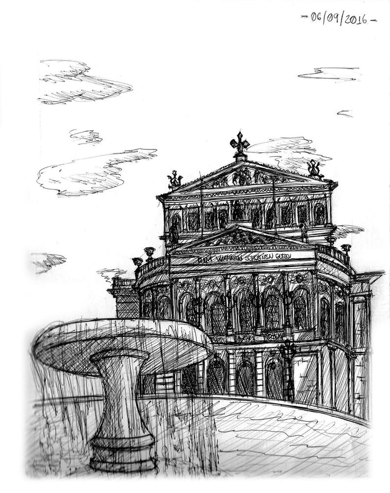 Observational Sketch 5 - Palace and Fountain by Zero-Knight-Daken